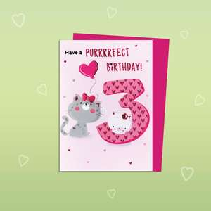 Age 3 Pink Birthday Card Alongside Its Magenta Envelope