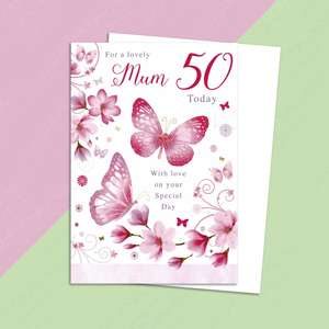 Mum Age 50 Birthday Card Alongside Its White Envelope