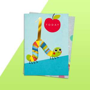 Age 1 Boys Caterpillar Themed Birthday Card Alongside Its Rainbow Themed Birthday Card
