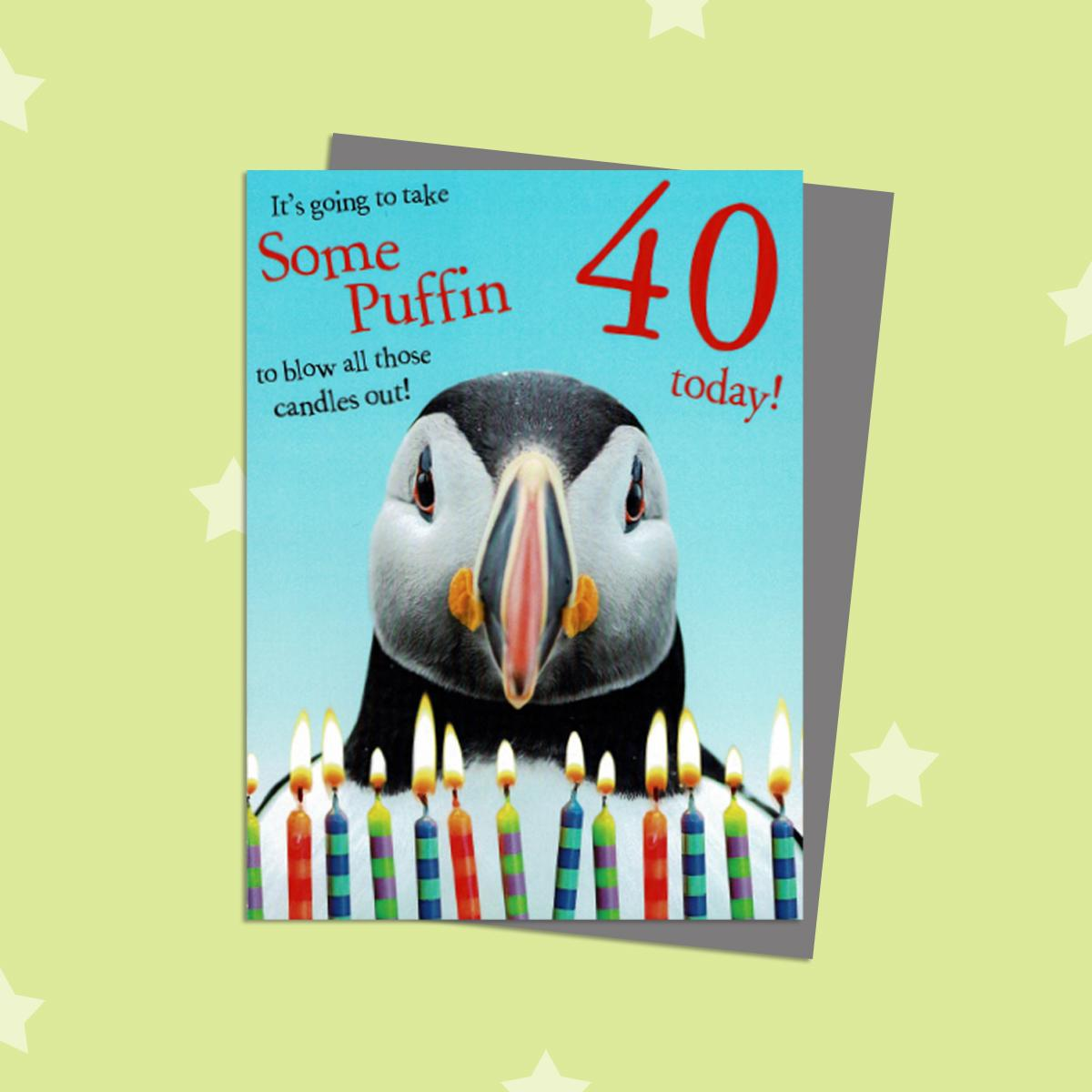 40th Puffin Themed Birthday Card Alongside Its Silver Envelope