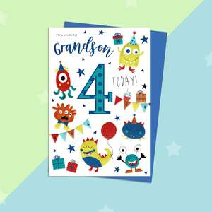 Wonderful Grandson Age 4 Birthday Card Full Image