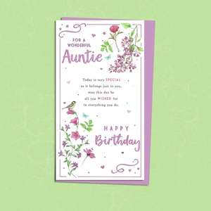 Auntie Birthday Card Sitting On The Shelf