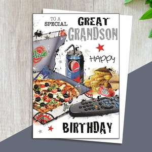Great Grandson Birthday Card Alongside Its White Envelope