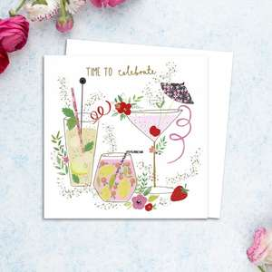 Cocktails Themed Birthday Card Alongside Its White Envelope