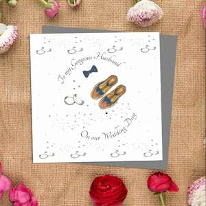 Husband Wedding Day Greeting Card Alongside Its Ivory Envelope