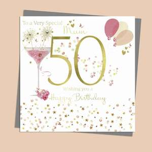 Mum Age 50 Birthday Card Alongside Its Silver Envelope