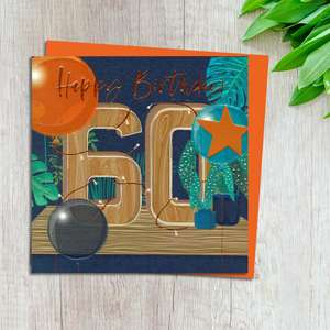 Age 60 Birthday Card Complete With Neon Orange Envelope