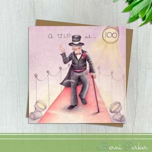 Showing A Gentleman In Top Hat And Tails Walking Along The Red Carpet Under Spotlights. Caption: A V.I.P at 100. Blank Inside For Your Own Message. Complete With Brown Kraft Envelope