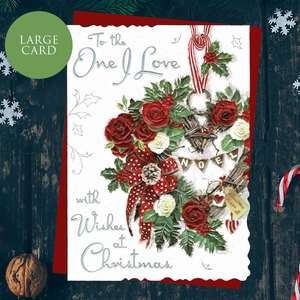 To The One I Love With Wishes At Christmas. This Large Card Is Finished With Silver Foil lettering, Red Glitter, Red Envelope And Colour Printed Insert