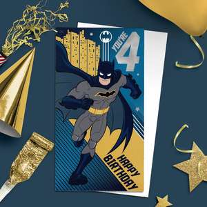 Batman Age 4 Birthday Card Alongside Its White Envelope