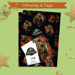 Jurassic World Giftwrap Alongside 2 Matching Gift Tags