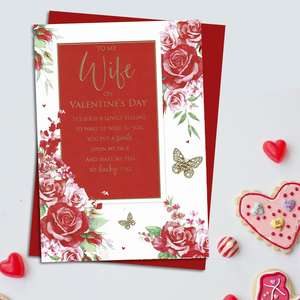 Wife Sentimental Valentine's Day Card Alongside Its Red Envelope