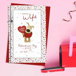 Amazing Wife Boofle Bear Valentine's Day Card Alongside Its Red Envelope