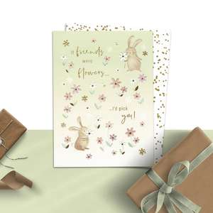 If Friends Were Flowers Birthday Card Alongside Its White And Gold Envelope
