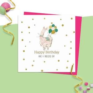 ' Happy Birthday Have A Fabulous Day' Hand Finished Design Featuring A Pink Llama With Balloons.! Gold Foiling Detail. Blank inside For Own Message. Complete With Neon Pink Envelope