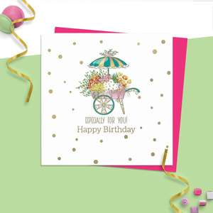 ' Especially For You! Happy Birthday ' Featuring A Flower Filled Cart With Parasol. Hand Finished  With Added Gold Foil Detail. Blank Inside For Own Message. Complete With Neon Pink Envelope