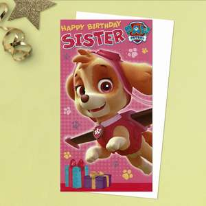 It's Skye From Paw Patrol For This Sister Birthday Card In Full Colour!  Complete With White Envelope
