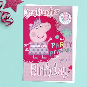 Granddaughter Party Princess Peppa Pig Card With Badge! Vibrant Colour With Added Sparkle. Complete With White Envelope
