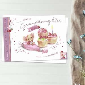 For A Very Special Granddaughter With Love On Your Birthday Featuring A Mouse With Cupcakes. Complete With White Envelope