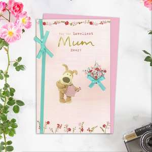 Boofle Mother's Day Card Alongside Its Light Pink Envelope