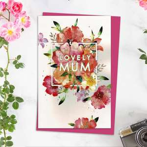 Lovely Mum Mother's Day Design Alongside Its Magenta Envelope