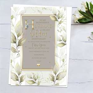 ' To My Wonderful Husband On Our Golden Anniversary' Featuring  Grey/Green And Brown Colours With Gold Foiling Detail And Heartfelt Words. Complete With White Envelope
