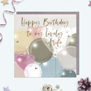 A Stunning Wife Birthday Card In Pastel Colours With Gem Attachments And Gold Foil Detail. Complete With Grey Envelope And Blank Inside for Own Message