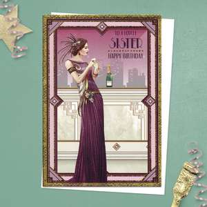 ' To A Lovely Sister Happy Birthday' From The Art Deco Range By Debbie Moore. Beautiful Lady In Elegant Dress In Magenta On A Balcony With Champagne! Complete With added Gold Foiling Detail And White Envelope