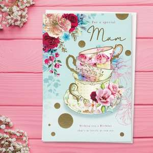 ' For A Lovely Mum' Birthday Card Featuring Triple Stacked Teacups On A Saucer With Beautiful flowers. Stunning Gold Foil Detail And White Envelope