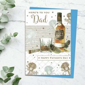 ' Here's To You Dad Happy Father's Day 'Card Featuring 'Dad's Whisky' and Glass With Feathers And Thistles. Complete With Stunning Gold Foiling And Blue Envelope