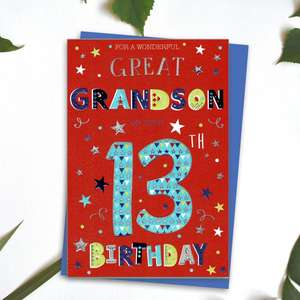Great Grandson Age 13 Birthday Card Alongside Its Blue Envelope