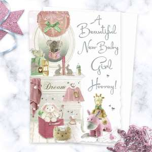 'A Beautiful New Baby Girl Hooray!' Card Featuring A Baby Girls bedroom, With Pink Items Of Clothing, Pink Balloon And Soft Toys! With Added Silver foil Detail And White Envelope