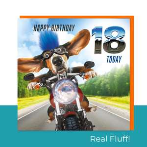 Fluff - 18 Today Motorbike Dog Card Front Image