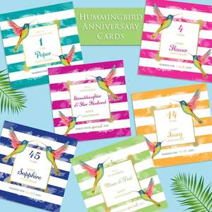 A Selection Of Beautiful Hummingbird Anniversary Cards From 1st To 70th Anniversary