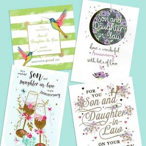 A Selection Of Cards To Show The Depth Of Range In Our Son & Daughter In Law Anniversary Section