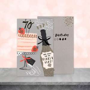 Image Of Age 70 Birthday Card Sitting On the Shelf
