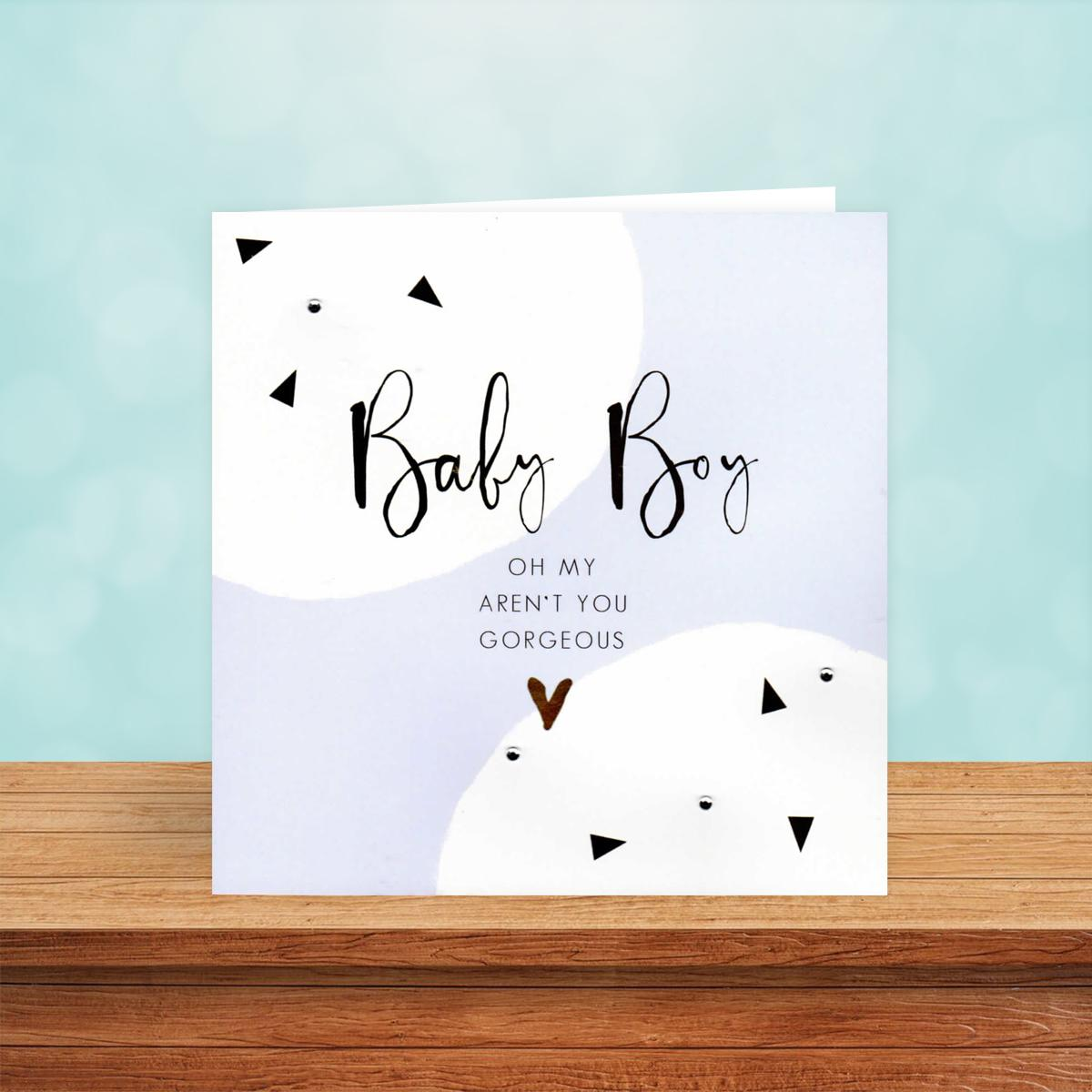 Baby Boy Congratulations Card Sitting On The Mantelpiece