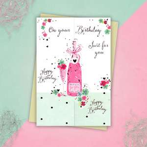 Champagne Bottle Greeting Card