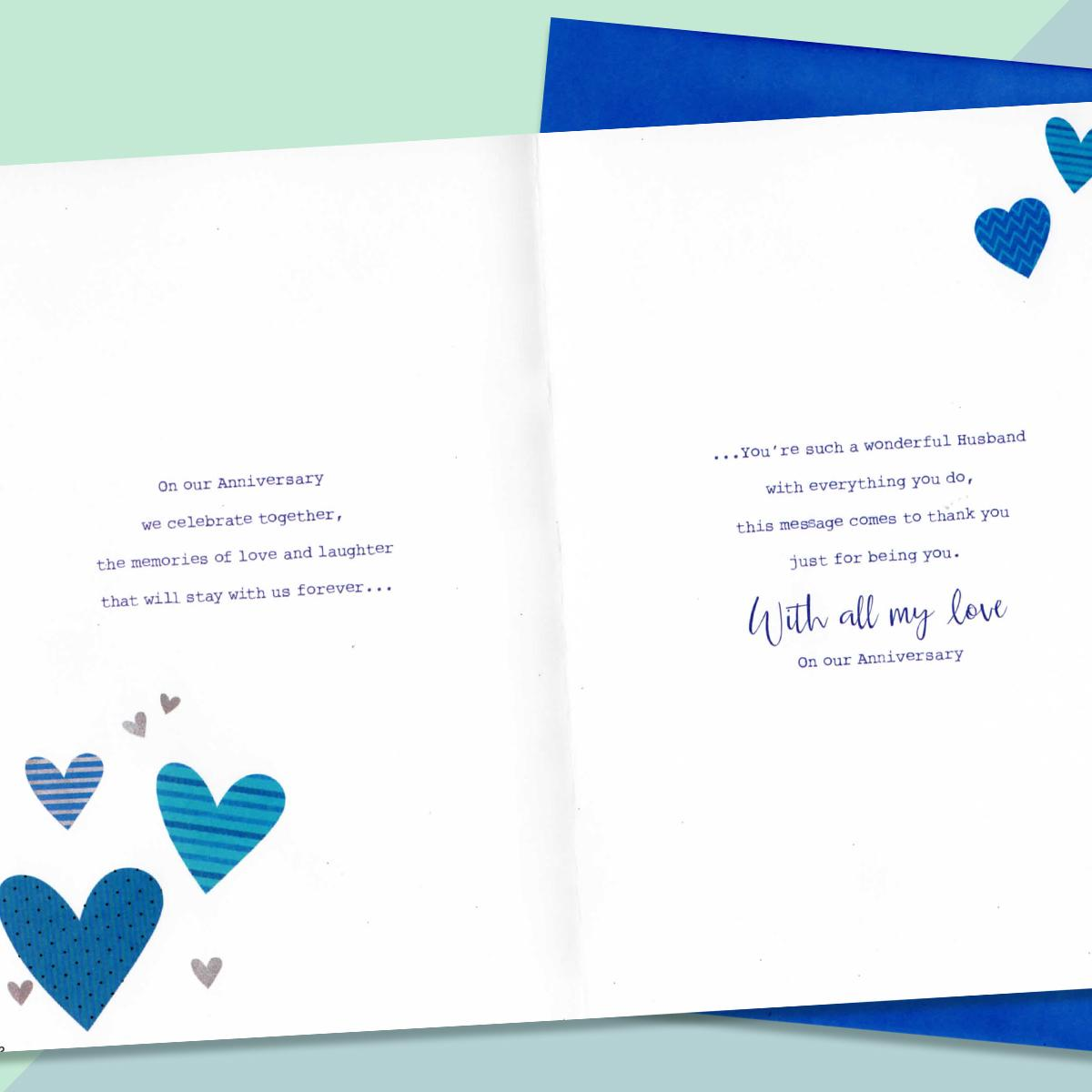 Inside Of Husband Anniversary Card To Show Printed Text