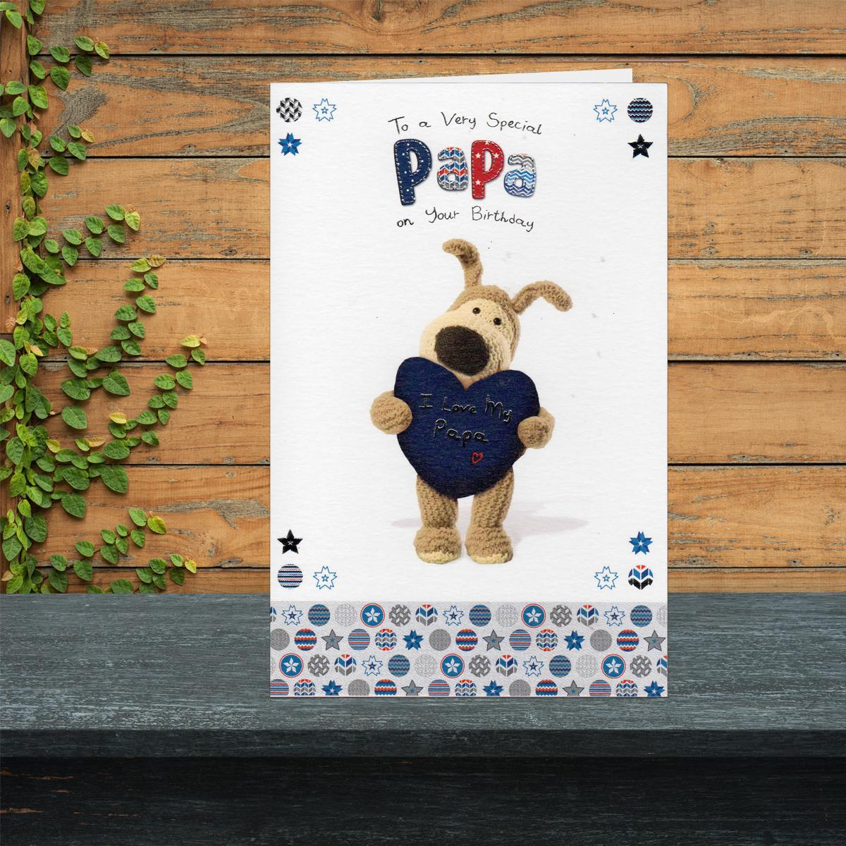 Boofle Papa Birthday Card Sitting On A Mantelpiece