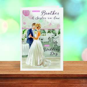 Brother And Sister In Law Wedding Card Sitting On The Shelf