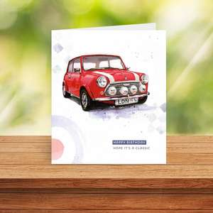 Red Mini Birthday Card Standing On A Wooden Shelf