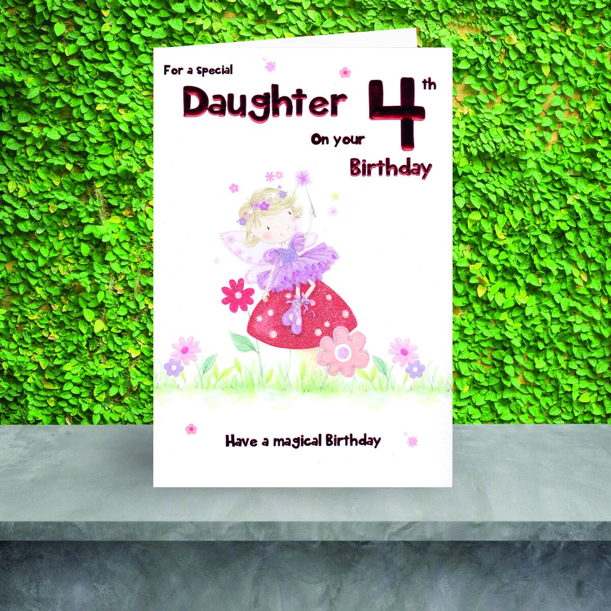 Daughter Age 4 Birthday Card Sat On The Shelf