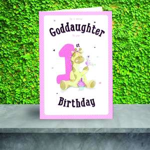 Goddaughter 1st Birthday Card Sitting On A Display Shelf