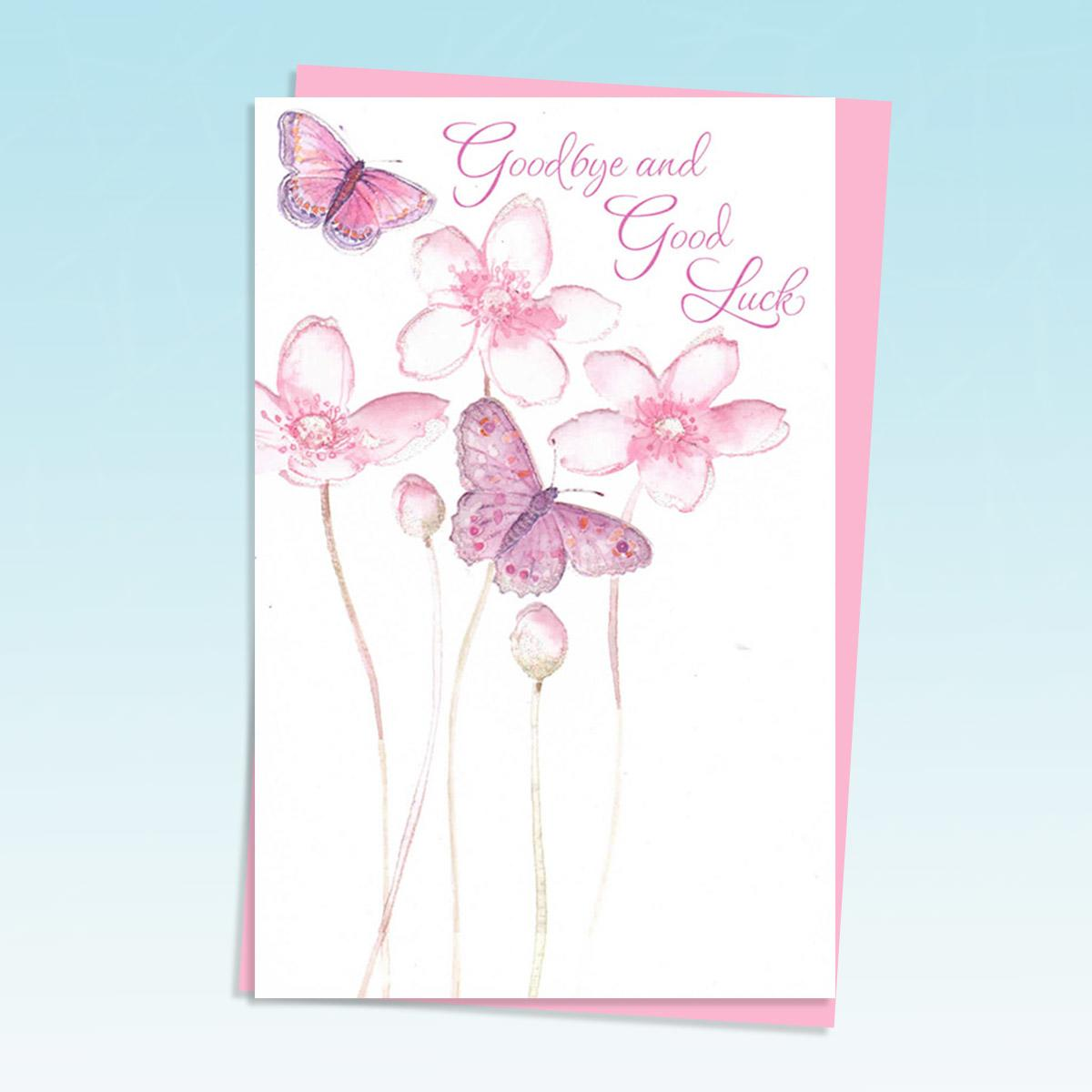 Butteflies And Pink Flowers Card Alongside Its Pink Envelope