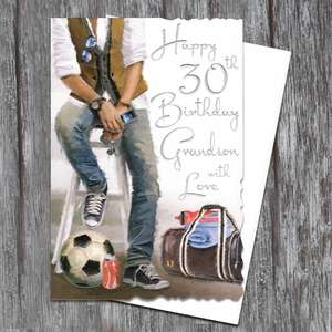 Grandson Age 30 Birthday Card Sitting Alongside Its Envelope