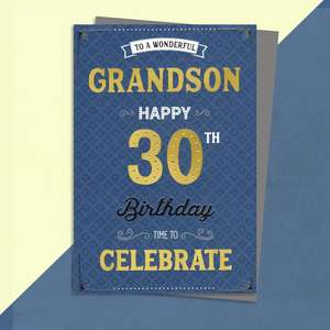 Grandson Age 30 Birthday Card Sitting On A Display Shelf