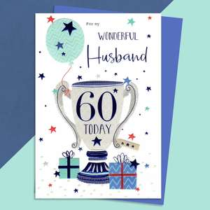 Husband Age 60 Birthday Card Sat On A Wooden Display Shelf