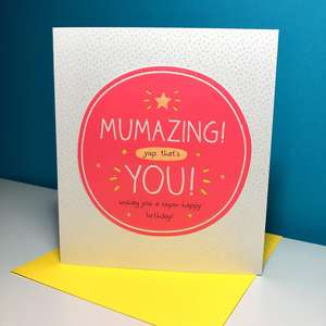 Beautiful Mum Birthday Card Sat On Top Of Its Yellow Envelope