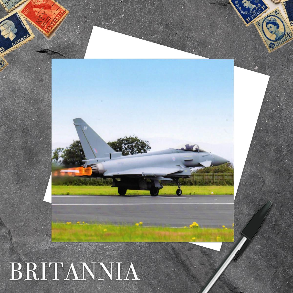 Royal Air Force Typhoon Plane Blank Greeting Card And Envelope